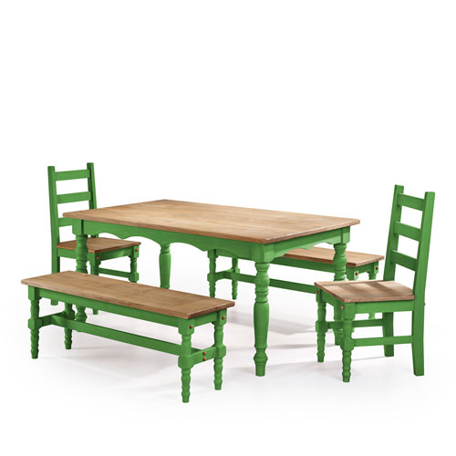 Manhattan Comfort Jay 5-Piece Solid Wood Dining Set with 2 Benches, 2 Chairs, and 1 Table in Green Wash