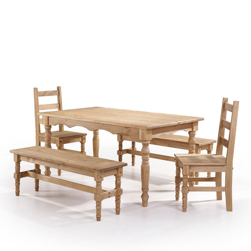 Manhattan Comfort Jay 5-Piece Solid Wood Dining Set with 2 Benches, 2 Chairs, and 1 Table in Nature