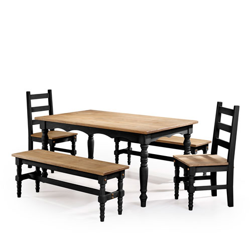 Manhattan Comfort Jay 5-Piece Solid Wood Dining Set with 2 Benches, 2 Chairs, and 1 Table in Black Wash