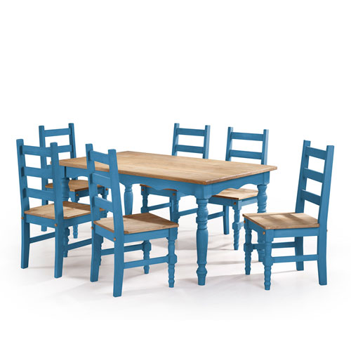 Manhattan Comfort Jay 7-Piece Solid Wood Dining Set with 6 Chairs and 1 Table in Blue Wash