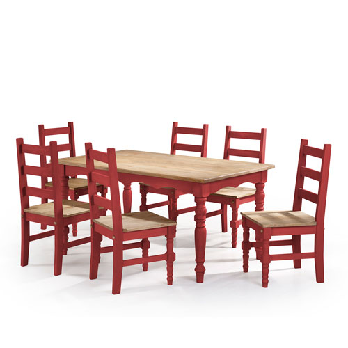 Jay 7-Piece Solid Wood Dining Set with 6 Chairs and 1 Table in Red Wash
