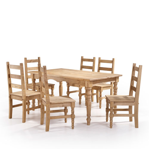 Jay 7-Piece Solid Wood Dining Set with 6 Chairs and 1 Table in Nature