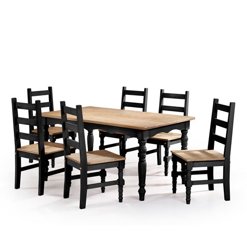 Manhattan Comfort Jay 7-Piece Solid Wood Dining Set with 6 Chairs and 1 Table in Black Wash