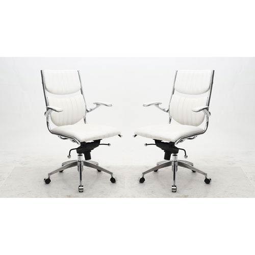 Verdi White High Back Verdi Office Chair, Set of 2
