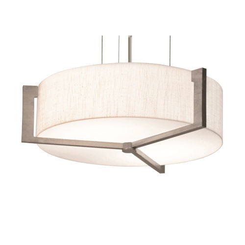 Apex Weathered Gray 17-Inch LED Pendant with Linen White Shade