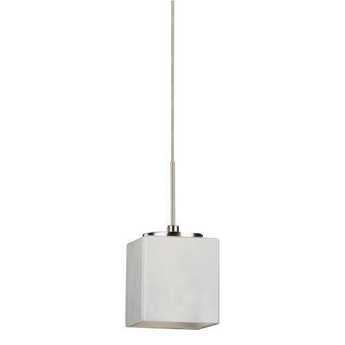 Geo Satin Nickel 4000K 120V LED Mini Pendant with White Shade