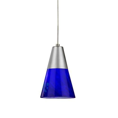 Laveer Satin Nickel 4000K 120-227V LED Mini Pendant with Blue Shade