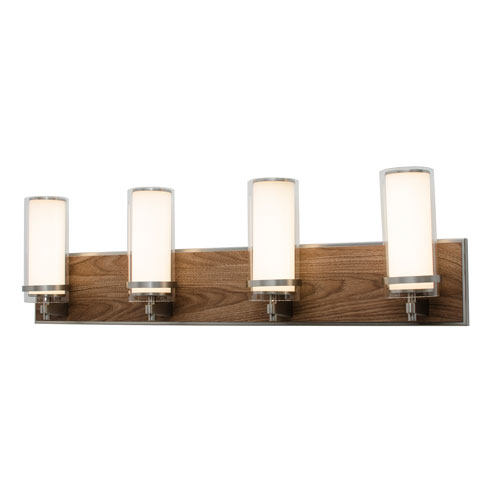 Arden Satin Nickel and Walnut Finish Four-Light LED Bath Vanity