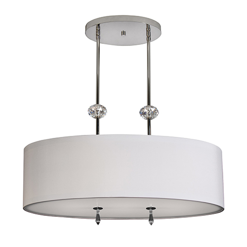 Athens Brushed Nickel Two-Light Pendant with White Silk Dupioni