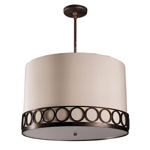 Astoria Polished Nickel Three-Light Medium Base Round Pendant with Ivory Silk Dupioni
