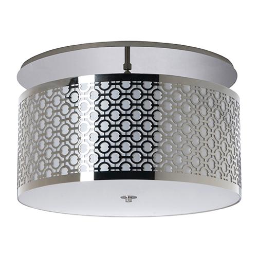 Brentwood Polished Chrome Two-Light 20-Inch Medium Base Semi Flush Mount with Ivory Silk Dupioni