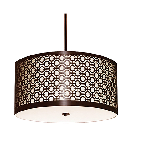 Brentwood Hand Rubbed Bronze Two-Light 20-Inch Medium Base Round Pendant with White Silk Dupioni