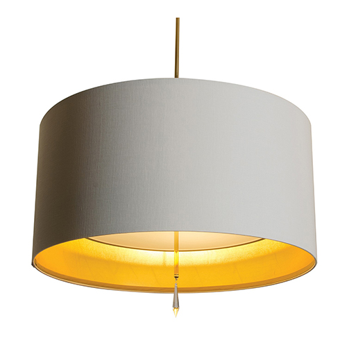 Paris Polished Nickel 277V LED 24-Inch Pendant with White Silk Dupioni and Gold Inner