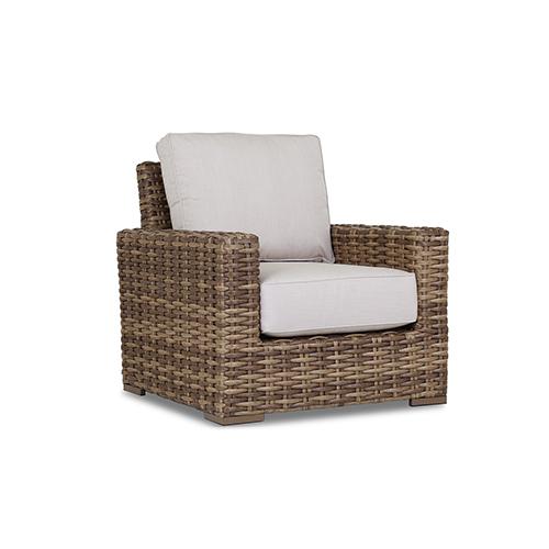 Havana Tan and Carmel Club Chair with Canvas Flax Cushion