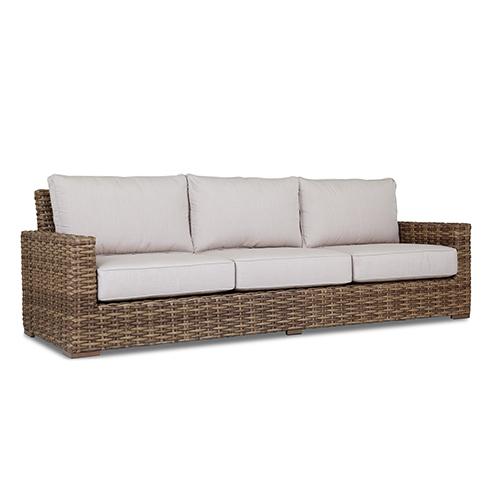 Havana Tan and Carmel Sofa with Canvas Flax Cushion