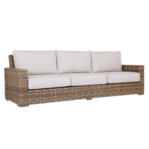 Havana Tobacco Leaf Wicker Sofa with Cushion in Canvas Flax