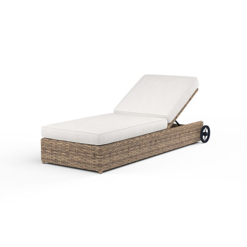 Havana Tobacco Leaf Wicker Adjustable Chaise with Cushion in Canvas Flax