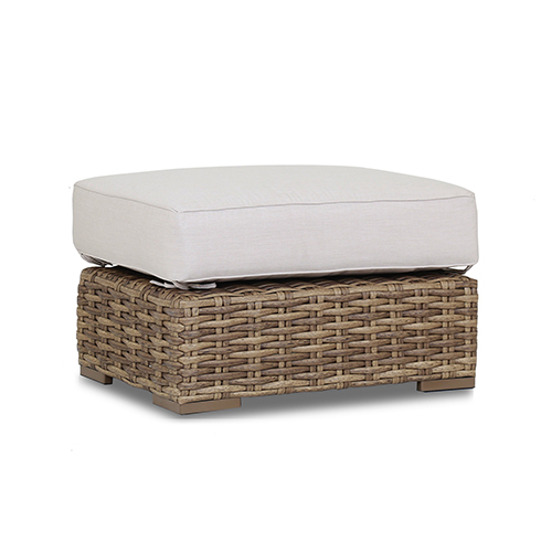 Havana Tan and Carmel Ottoman with Canvas Flax Cushion