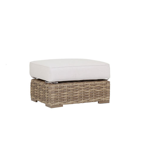 Havana Tobacco Leaf Wicker Ottoman with Cushion in Canvas Flax