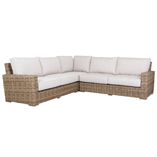 Havana Tobacco Leaf Wicker Sectional Sofa with Cushion in Canvas Flax