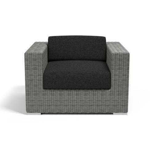 Emerald II Steel Grey Wicker Club Chair with Cushion in Spectrum Carbon