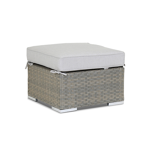 Majorca Gray Beige Ottoman with Cast Silver Cushion
