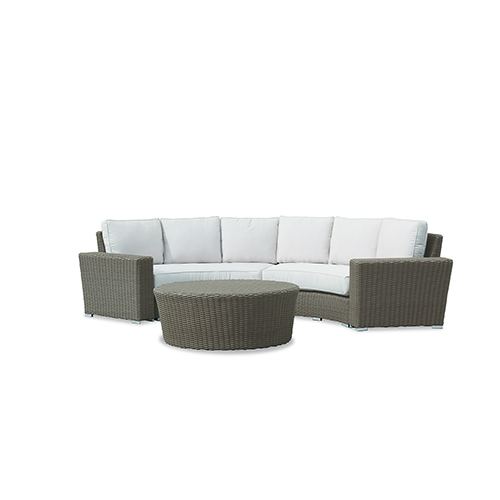 Coronado Light Brown Curved Loveseat with Canvas Flax Cushions