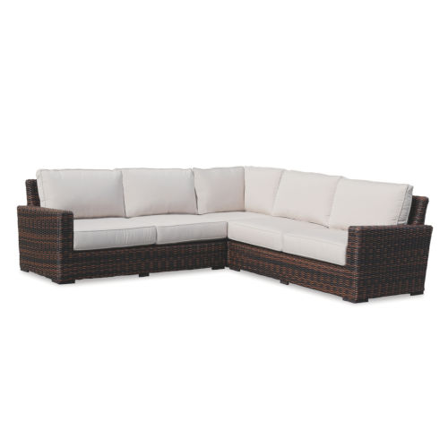 Montecito Cognac Wicker Sectional Sofa with Cushion in Canvas Flax with Self Welt