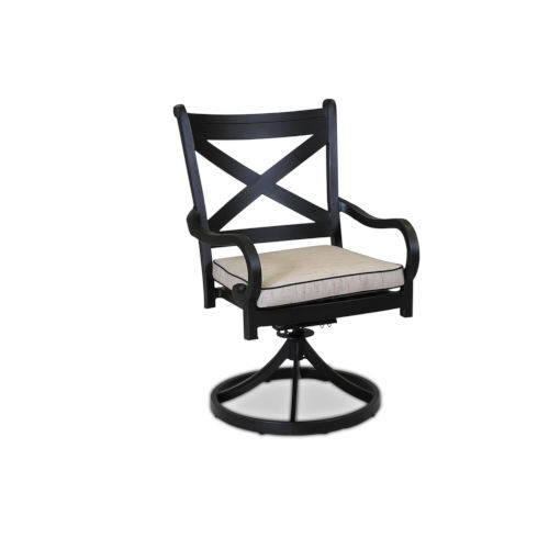 Monterey Old World Copper Rub Swivel Dining Chair with Cushion and Canvas Walnut Welt