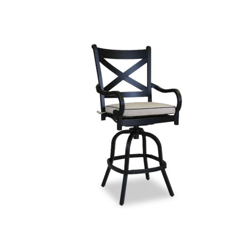 Monterey Old World Copper Rub Outdoor Barstool with Cushion and Canvas Walnut Welt