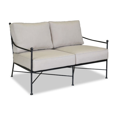 Provence Century Pewter Loveseat with Cushion In Canvas Flas with Self Welt