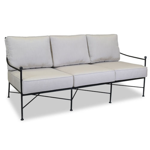 Provence Century Pewter Sofa with Cushion in Canvas Flax with Self Welt