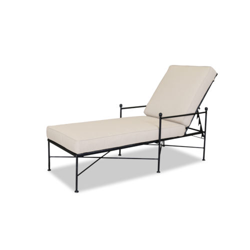 Provence Century Pewter Chaise Lounge with Cushion in Canvas Flax with Self Welt