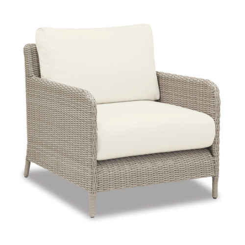 Manhattan Dove Grey Wicker Club Chair with Cushion in Linen Canvas with Self Welt