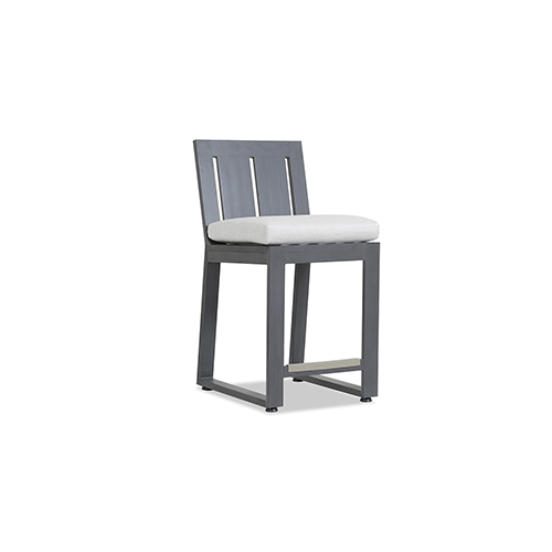 Redondo Burnished Gray Barstool with Cast Silver Cushion