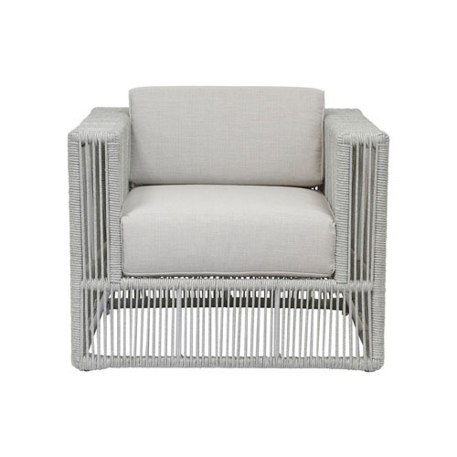 Miami Frost Rope Club Chair with Echo Ash Cushion