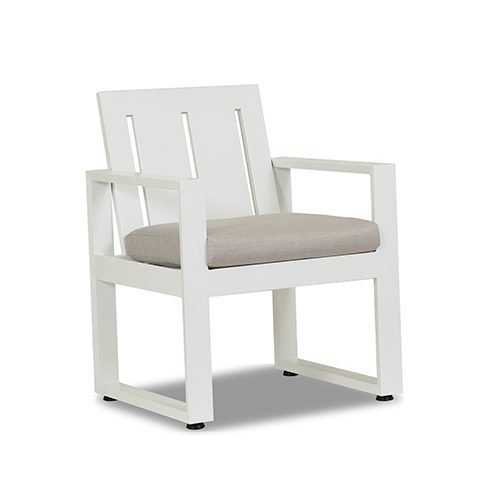 Newport Frosted White Dining Chair with Cast Silver Cushion