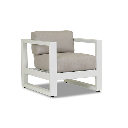 Newport Frosted White Club Chair with Cast Silver Cushions