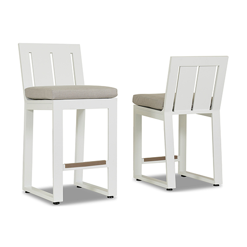 Newport Frosted White Barstool with Cast Silver Cushion