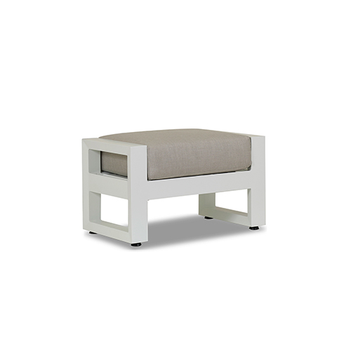 Newport Frosted White Ottoman with Cast Silver Cushion