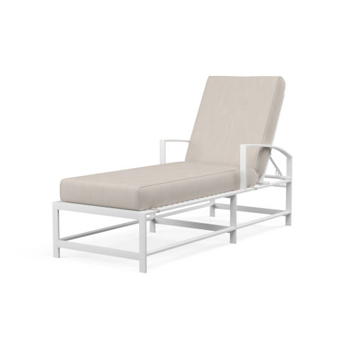 Bristol Frost Powdercoat Chaise with Cushion in Canvas Flax with Self Welt