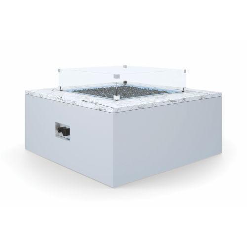 Bazaar White Carrara Square Fire Table