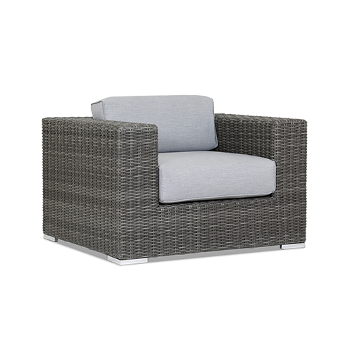 Emerald II Club Chair With Cushions In Canvas Granite With Self Welt