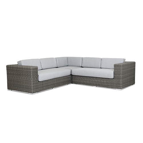 Emerald II Sectional With Cushions In Canvas Granite With Self Welt