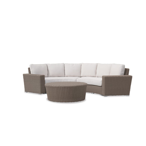 Coronado Curved Loveseat with cushions in Canvas Flax with self welt