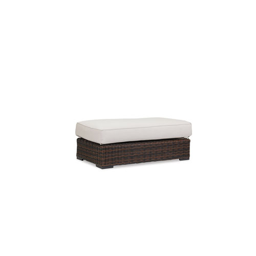Montecito Double Ottoman with cushions in Canvas Flax with self welt