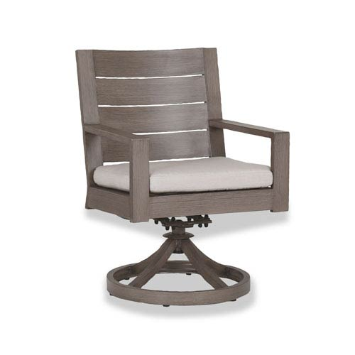 Sunset West Laguna Swivel Dining Chair with Cushions in Canvas Flax with Self Welt
