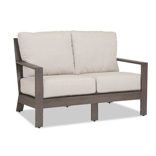 Sunset West Laguna Loveseat with Cushions in Canvas Flax with Self Welt