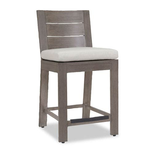 Sunset West Laguna Barstool with Cushions in Canvas Flax with Self Welt