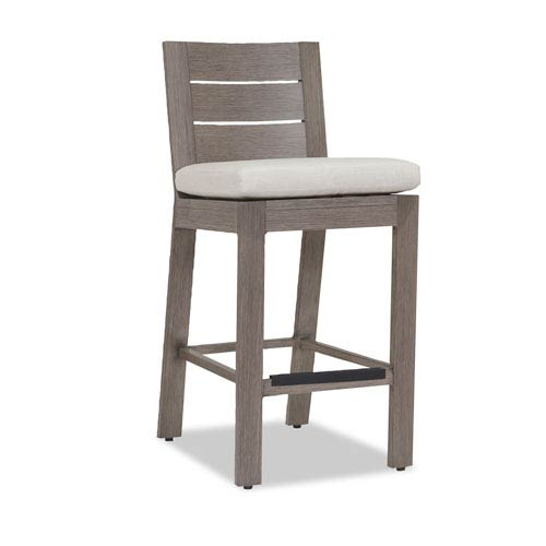 Sunset West Laguna Counter Stool with Cushions in Canvas Flax with Self Welt